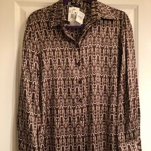 Escada Tops - NWT Escada stunning silk blouse in brown print, 8